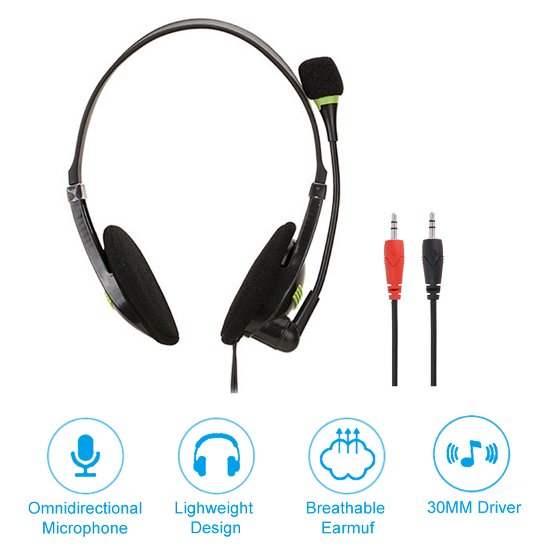 Lightweight 3.5mm Plug Wired Headphones With HD Microphone Office Home Working Gamer Headset black