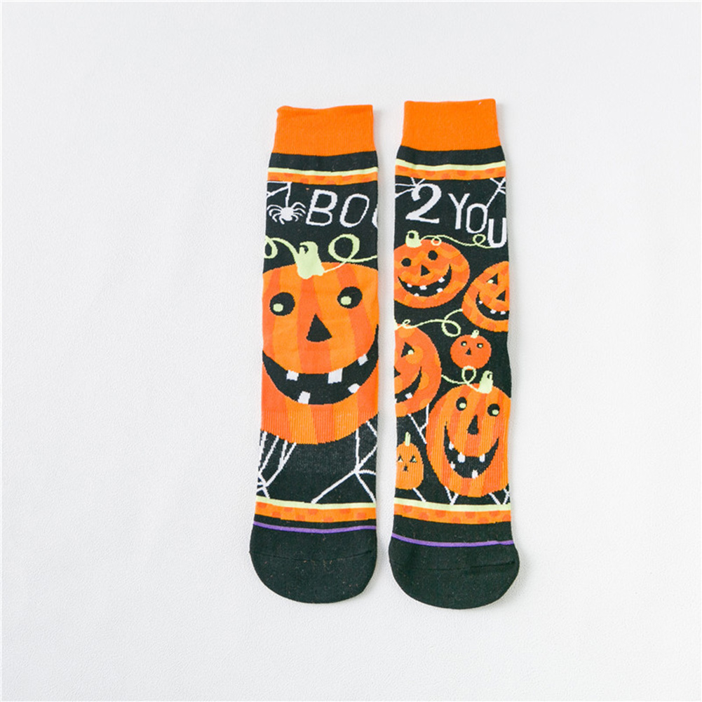 1 Pairs Autumn Winter Color Jacquard Mid-calf Length Socks for Halloween pumpkin_One size