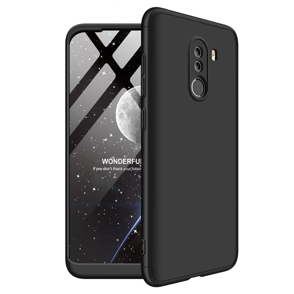 For XIAOMI Pocophone F1 Ultra Slim PC Back Cover Non-slip Shockproof 360 Degree Full Protective Case black