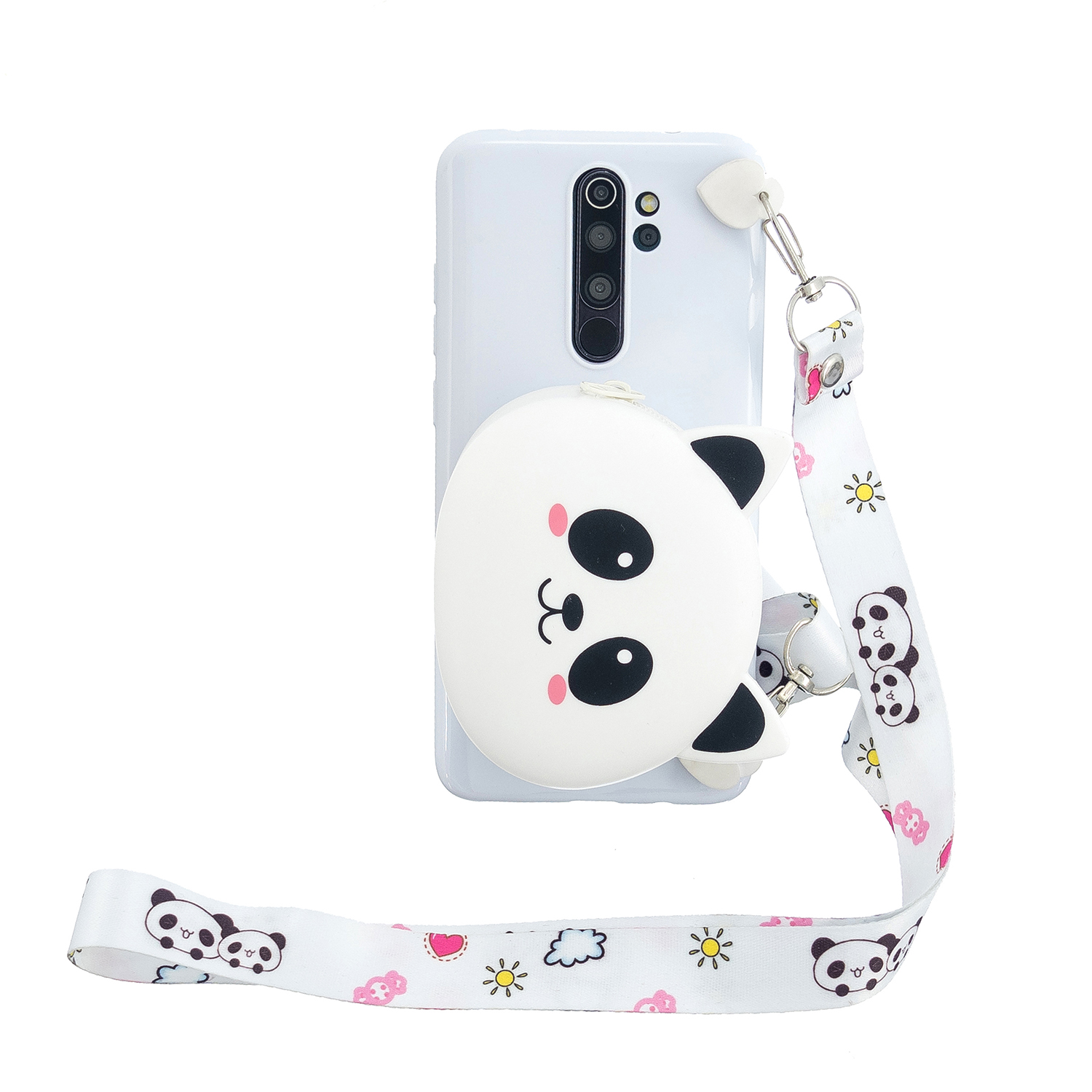 For Redmi Note 8/8T/8 Pro Cellphone Case Mobile Phone Shell Shockproof TPU Cover with Cartoon Cat Pig Panda Coin Purse Lovely Shoulder Starp  White