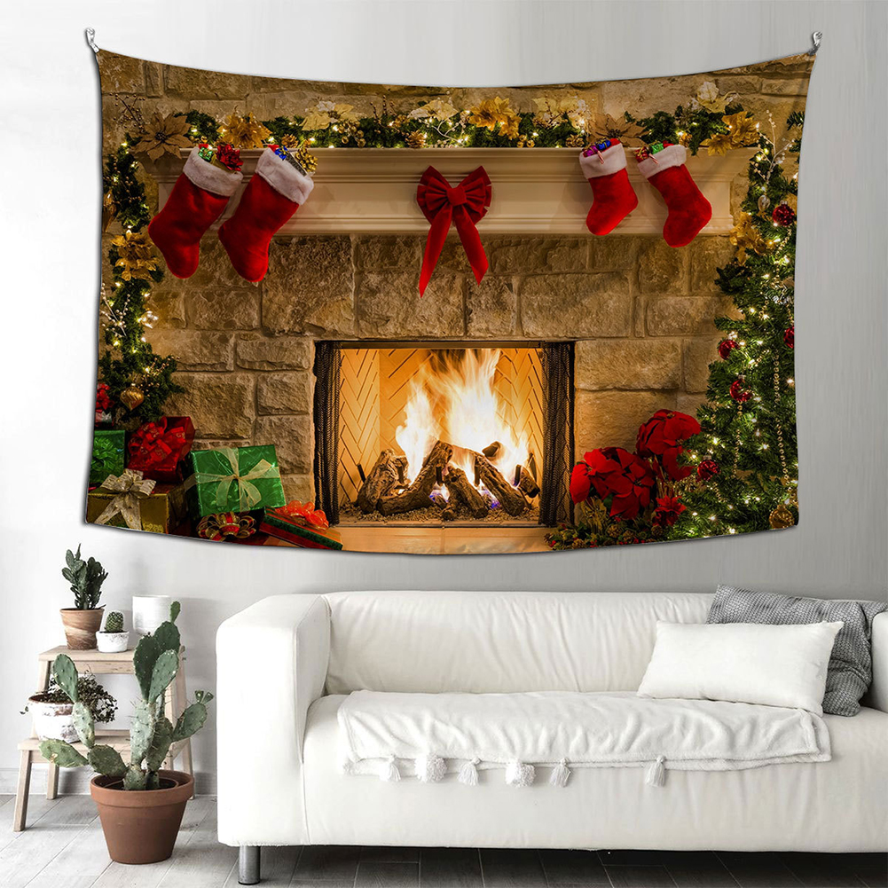 Santa Claus Halloween Fireplace Background Cloth  Tapestry 150*200cm Hanging Decoration Type E