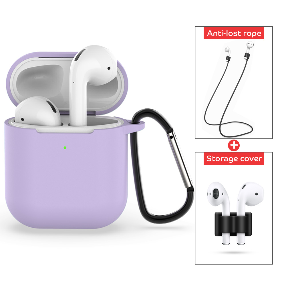 4 Pcs/set For Apple AirPods 2 Wireless Charger Protective Silicone Case Cover Accessories Set light purple