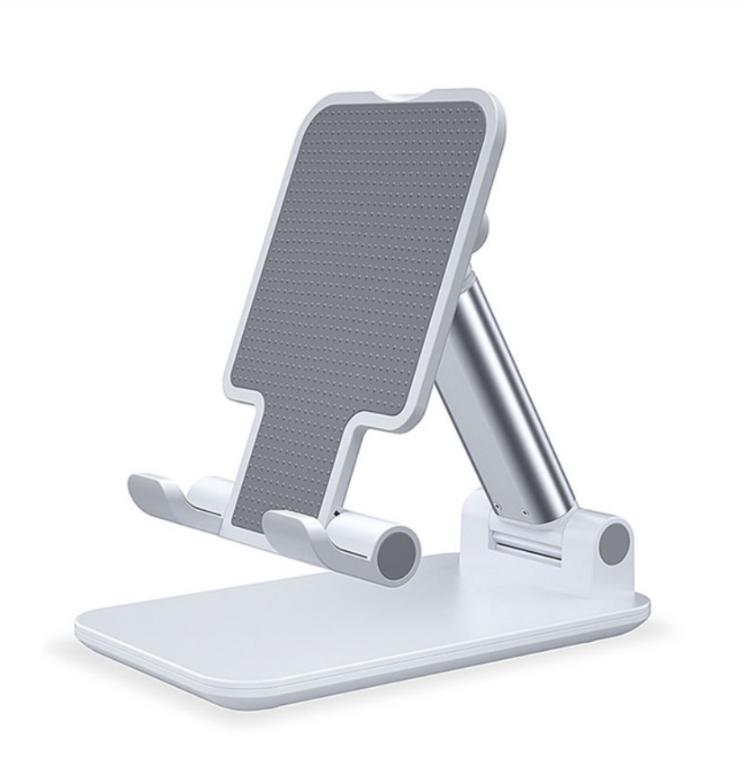 Foldable Phone Stand Metal Cellphone Holder Adjustable Desk Bracket Smartphone Mount Universal for iOS/Android Moble Phone White