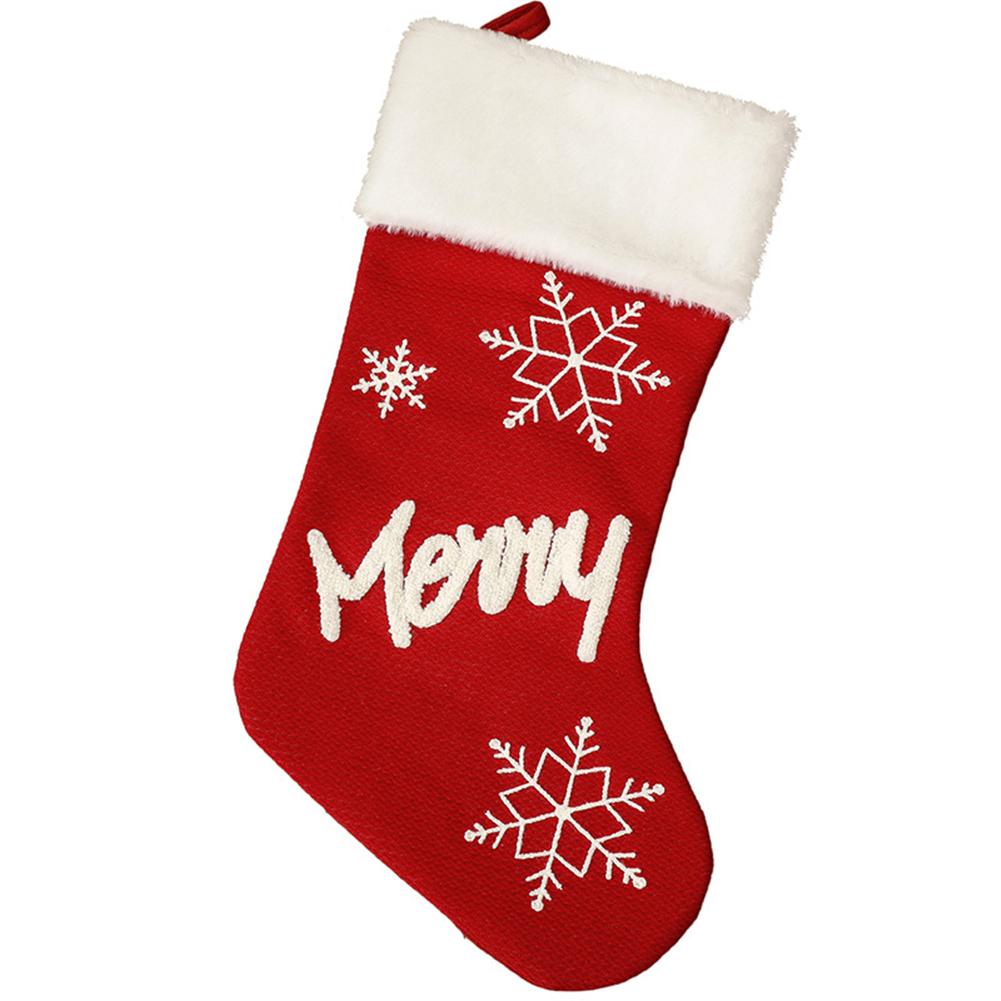 Christmas  Plush  Socks Non-woven Christmas Party Pendants Christmas Gift Candy Bags Snowflake English Socks Merry