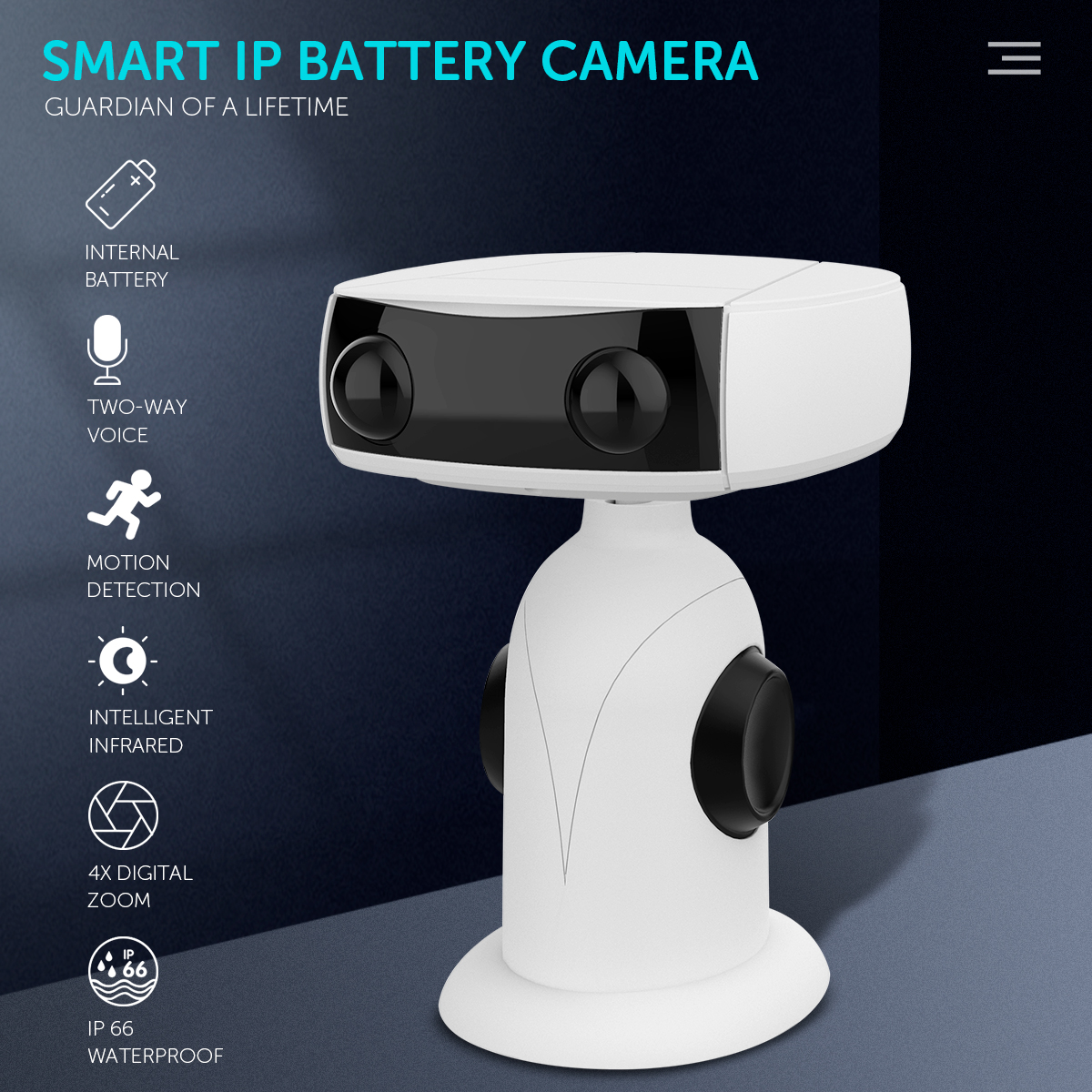 Wireless Camera 1080p 4x Zoom Low Power Wifi Voice Intercom Monitoring Camera white