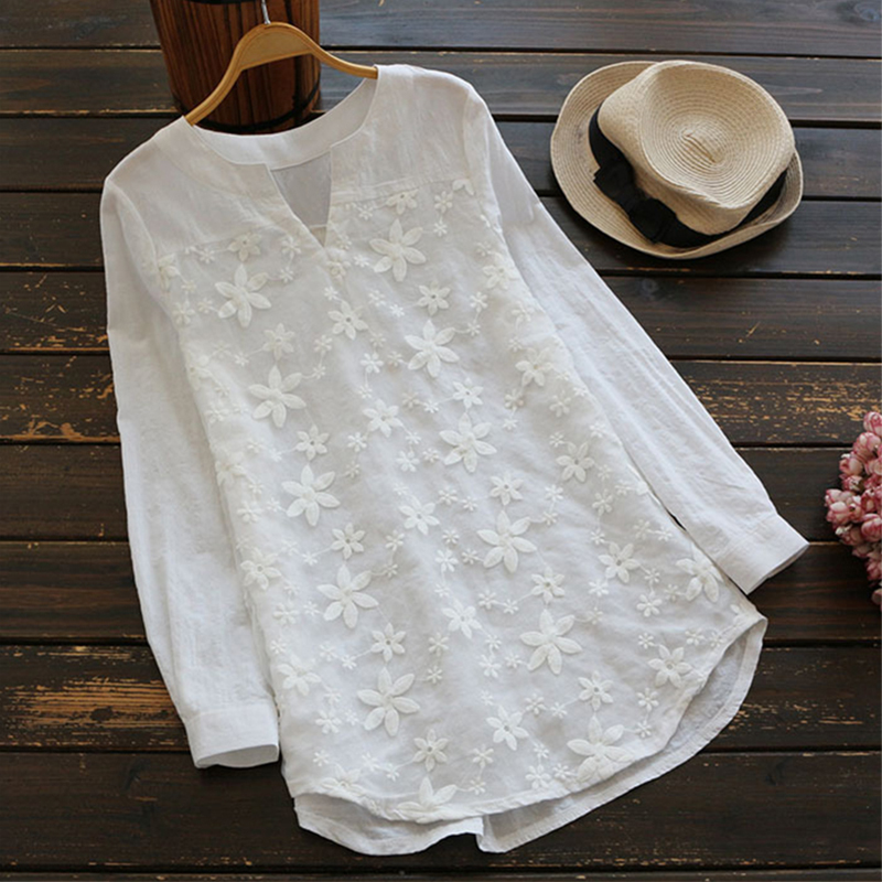 Women Fashion V Neck Lace Embroidered Long-sleeved Shirt