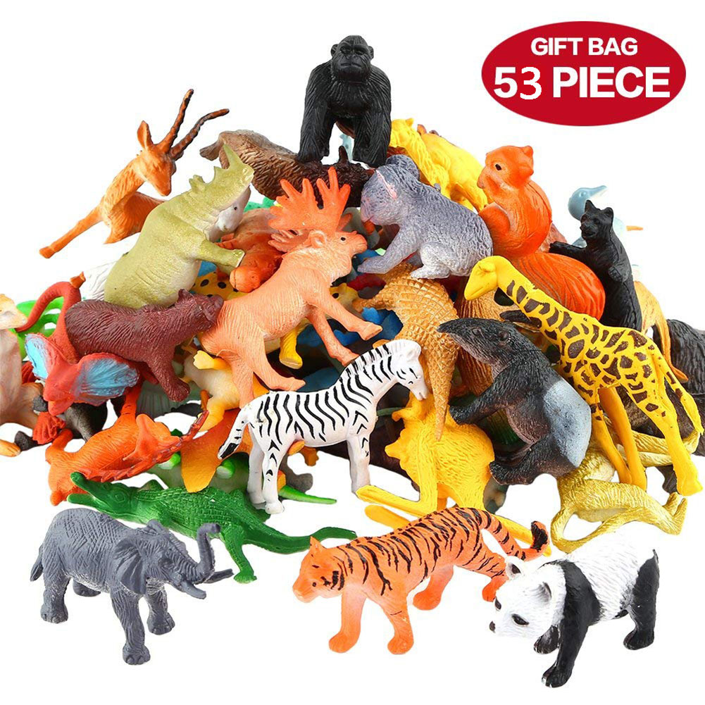 53pcs/set Mini Jungle Animal Toy Set