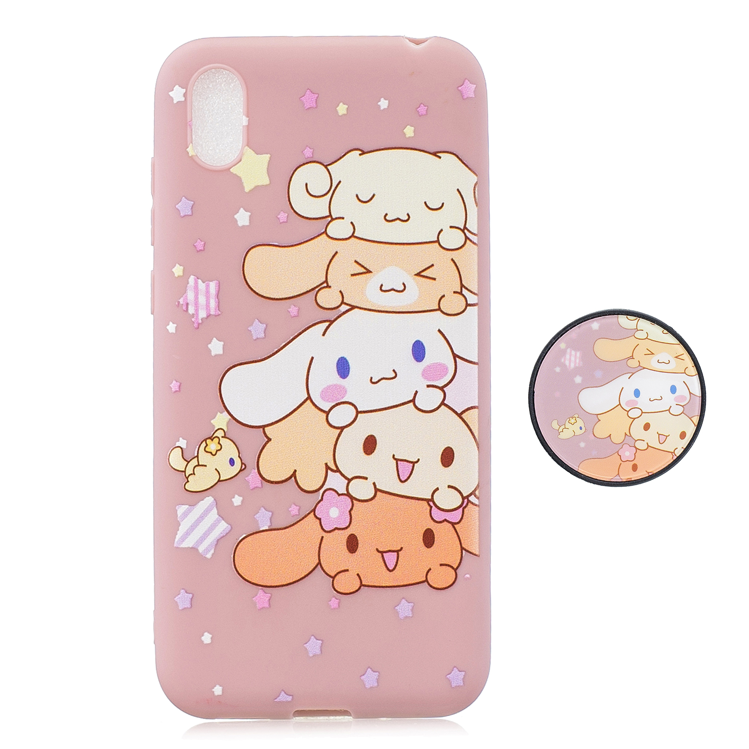 For HUAWEI Y5 2019  Lightweight Soft TPU Phone Case Pure Color Phone Cover Cute Cartoon Phone Case with Matching Pattern Adjustable Bracket 1