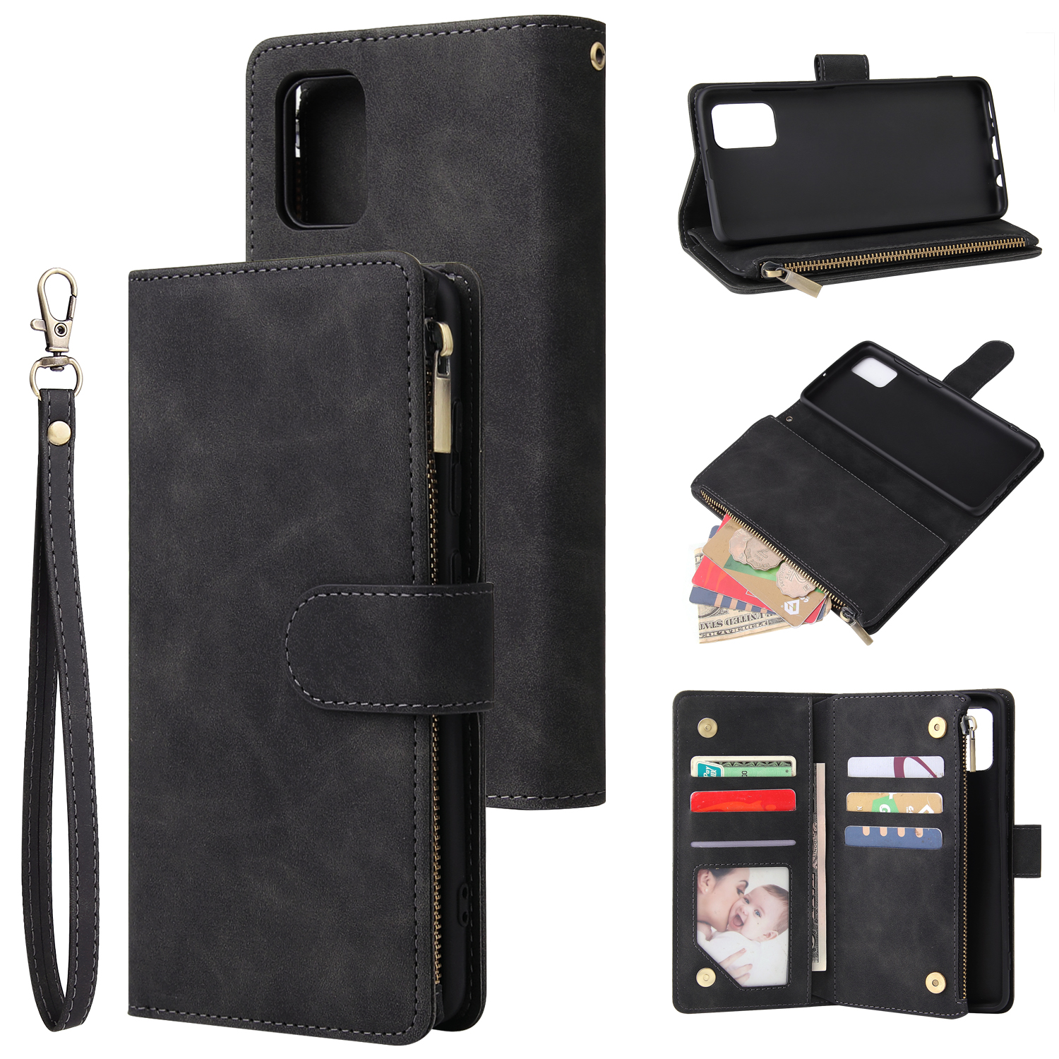 For Samsung A51 Case Smartphone Shell Precise Cutouts Zipper Closure Wallet Design Overall Protection Phone Cover  Black