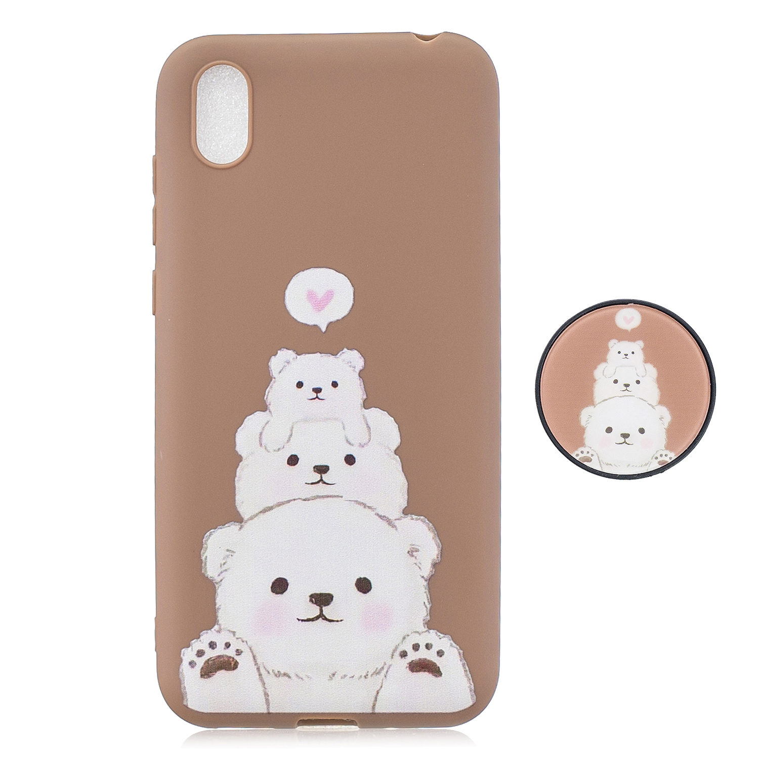 For HUAWEI Y5 2019  Lightweight Soft TPU Phone Case Pure Color Phone Cover Cute Cartoon Phone Case with Matching Pattern Adjustable Bracket 3
