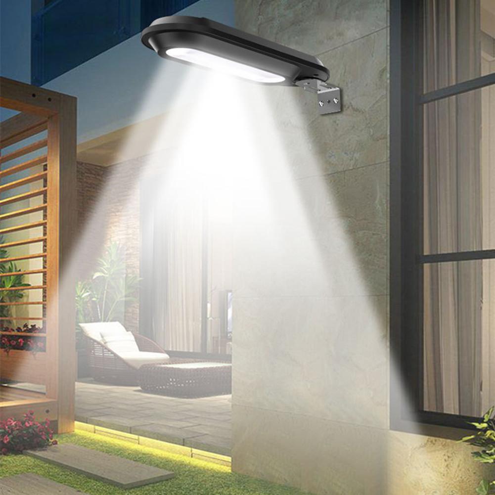 18LEDs Solar Powered Light Control Street Wall Lamp for Outdoor Garden Fence Black shell white light