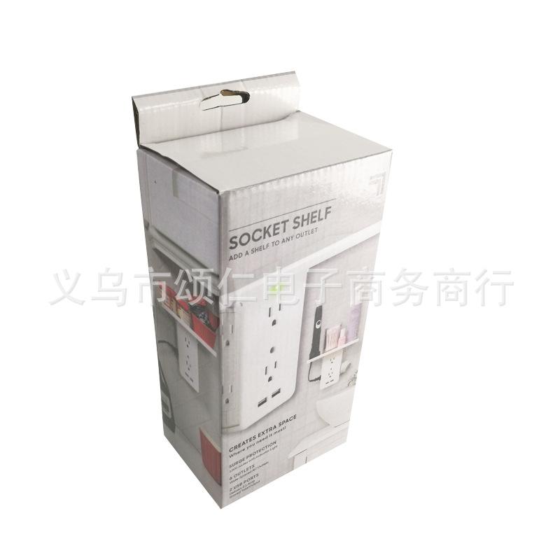 Socket Shelf Multi-function Power Outlet Shelf with Usb Ports Storage Holder white_U.S. regulations