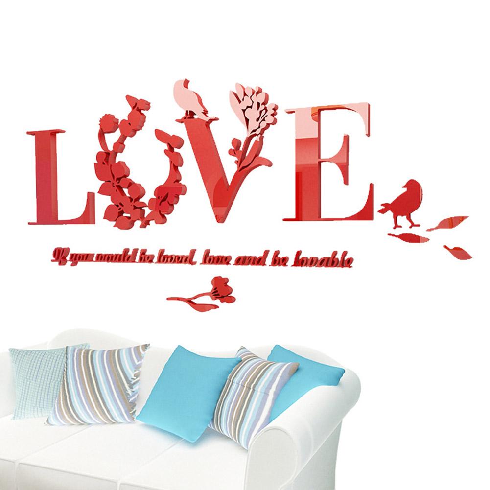 Romantic 3D Love Letter Art Wall Sticker for Wedding Room TV Setting Decor red