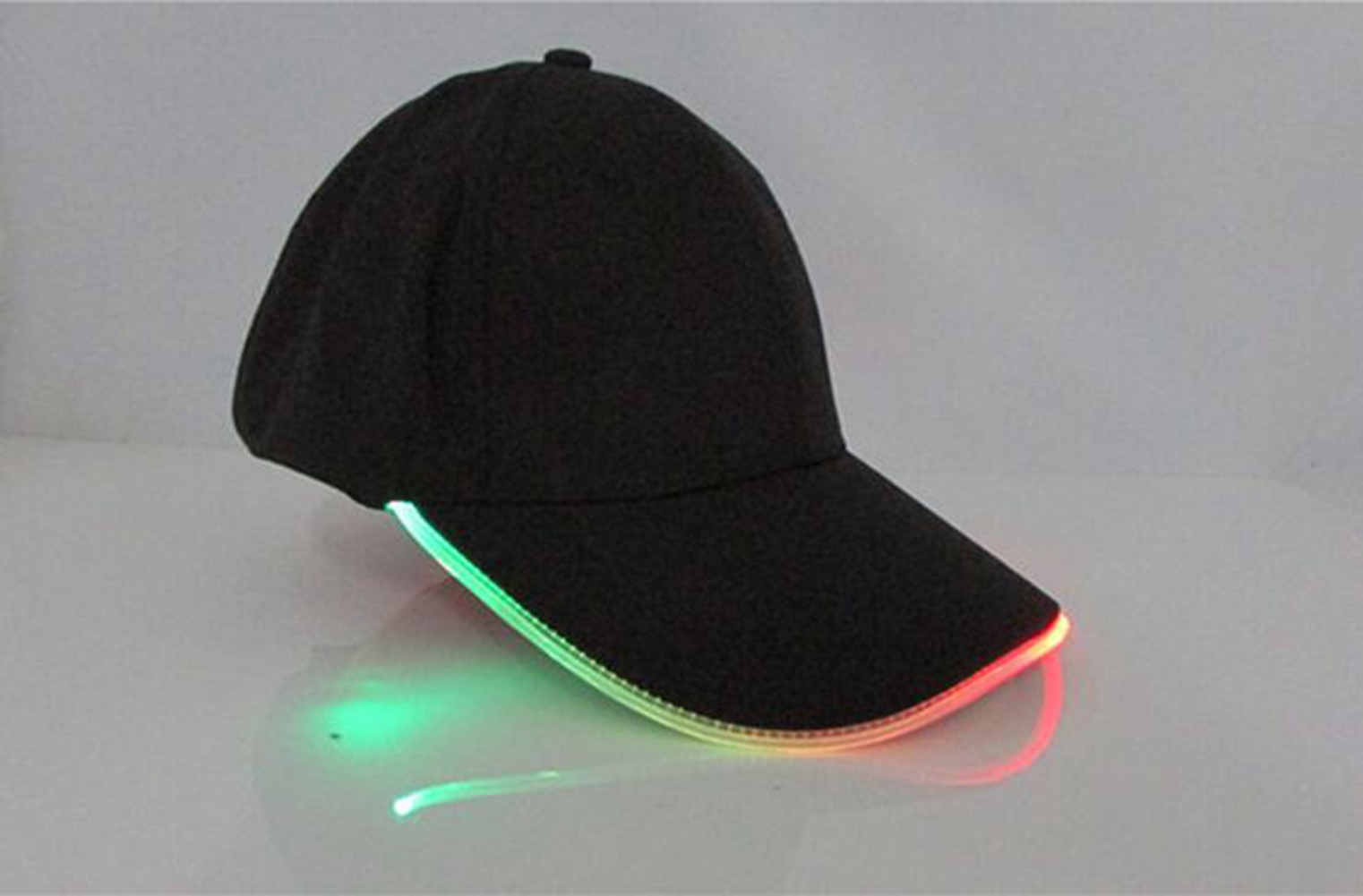 LED Light Glow Club Black Fabric Travel Hat