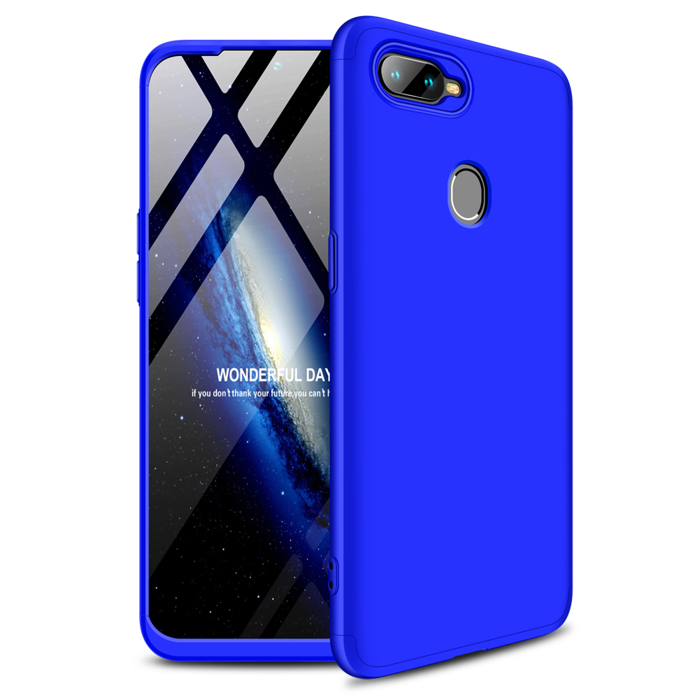 for Oppo A7 Ultra Slim PC Back Cover Non-slip Shockproof 360 Degree Full Protective Case blue_Oppo A7