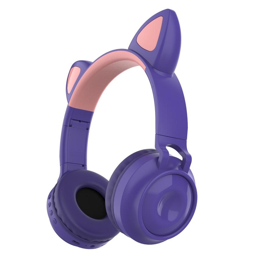 Bluetooth 5.0Ear Headphones Foldable Stereo Wireless Set Mic LED Light Volume Control Support For Kids purple
