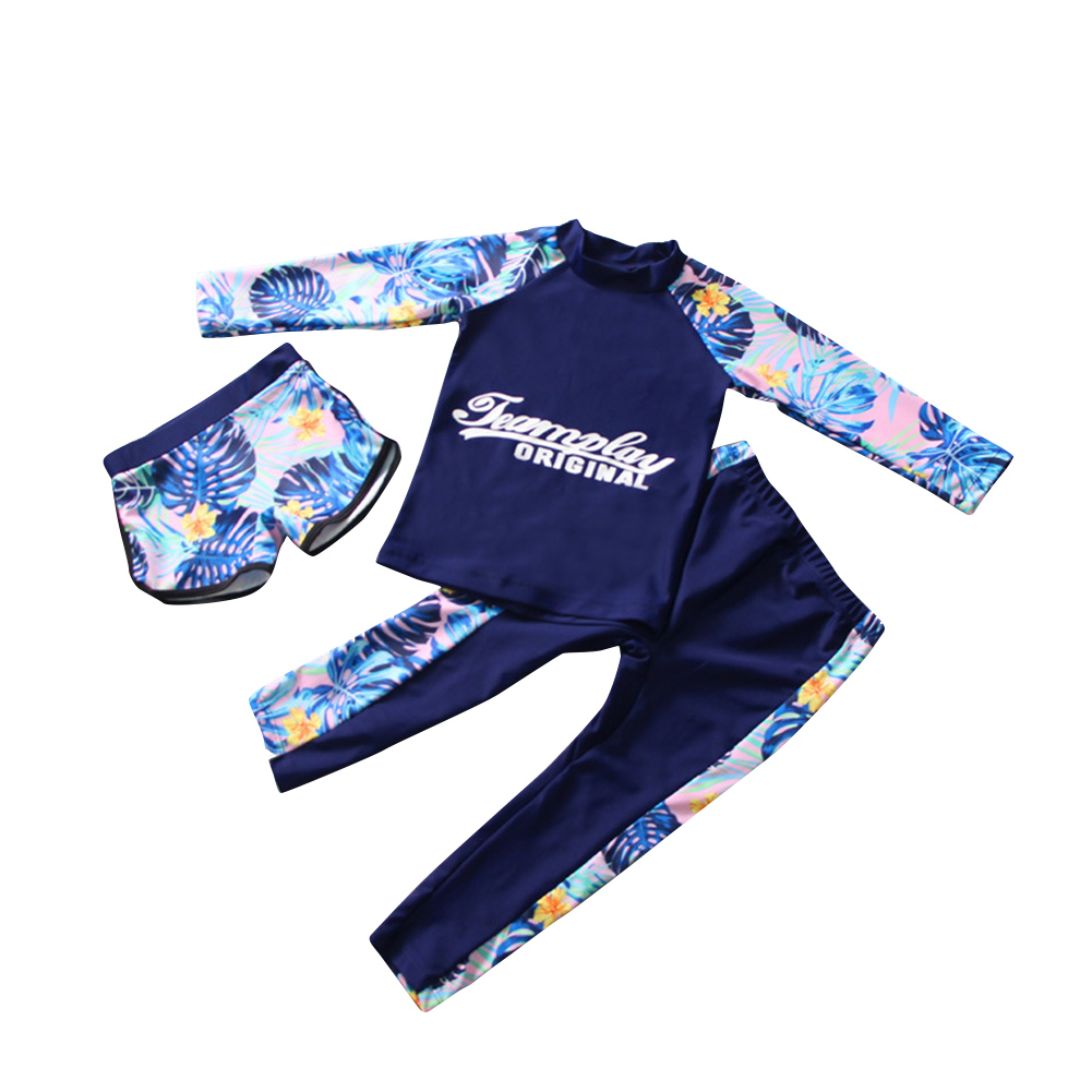 Kids Boys Girls Quick Dry Sunscreen Long Sleeve Swimwear Pants Shorts Set Three-piece for children_L