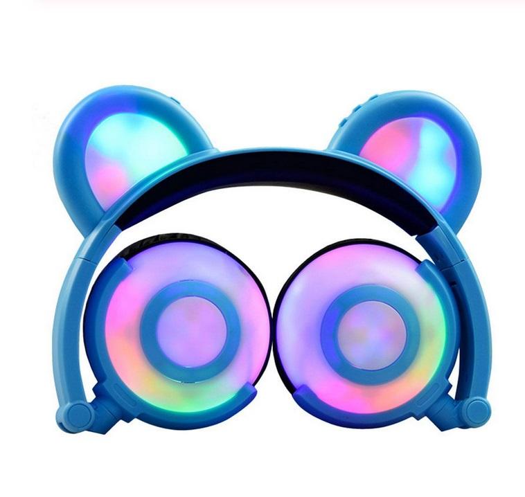 Adjustable Folding Cartoon Fancy Bear Shape Stereo Glow Music Bass Charging Ears Headset blue