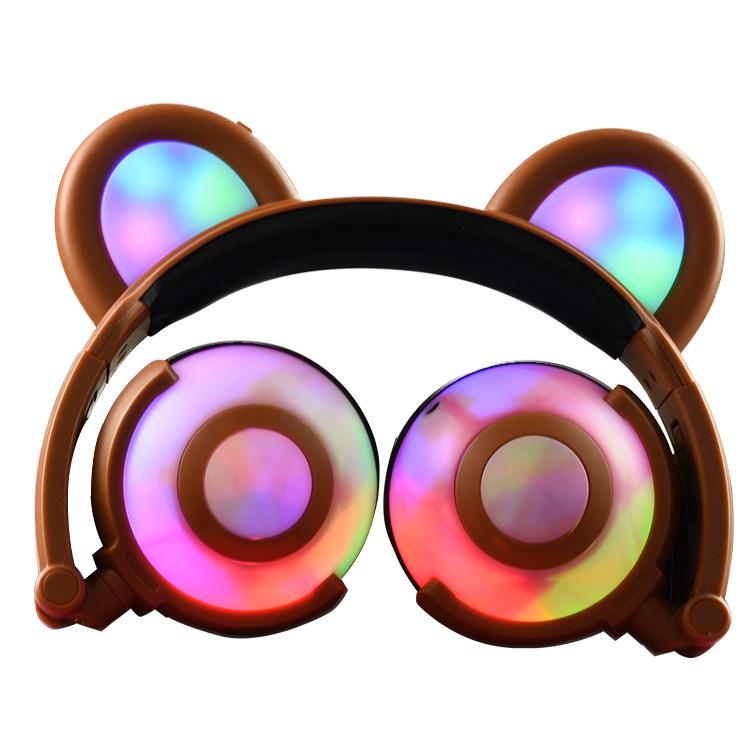 Adjustable Folding Cartoon Fancy Bear Shape Stereo Glow Music Bass Charging Ears Headset Brown