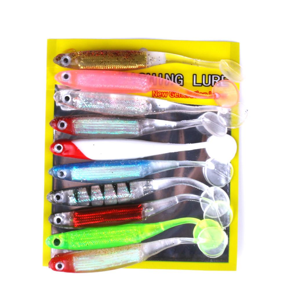 10pcs/Set Multicolor T Tail Soft Bait Fishing Gear Supplies Multicolor