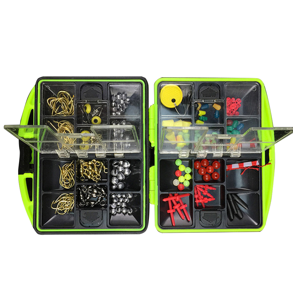 100 Pcs 24 Kinds Fishing Tackle Kit Box Multifunctional Fishing Gear Accessories with Tackle Box