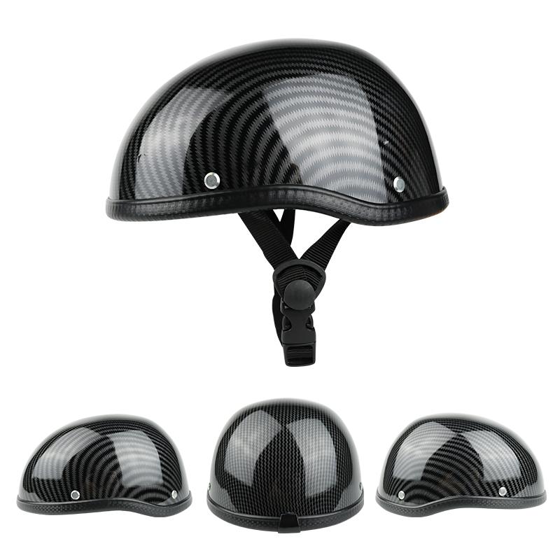 Adult Motorcycle Half Face Vintage Helmet Hat Cap Motorcross Moto Racing Helmets Carbon fiber pattern
