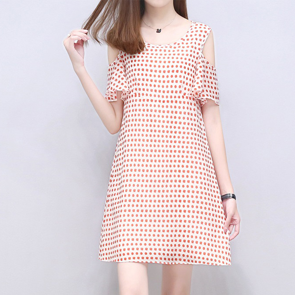 Women Loose Off Shoulder Chiffon Dress Fashion Large Size Dots Printed Dresses Photo Color_XL