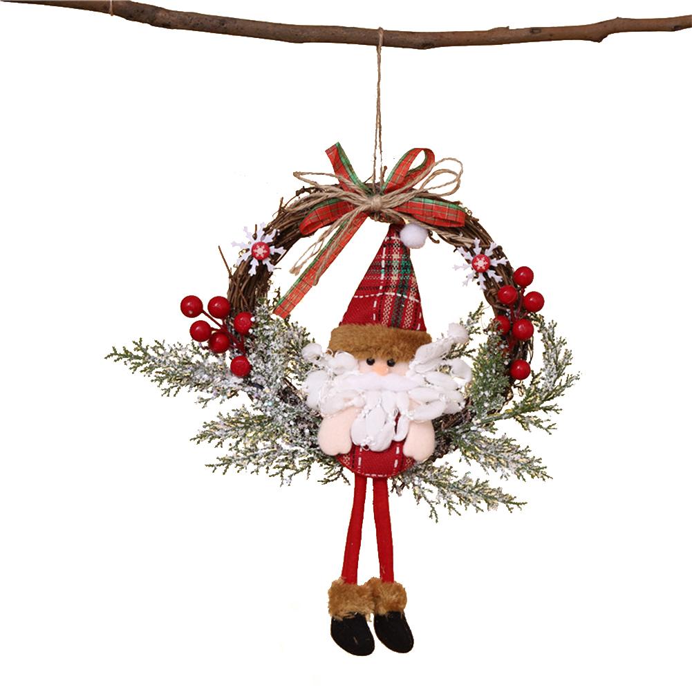 Rattan Christmas  Garland Santa Claus Doll Door Hanging Garland Christmas Ornament Dead Branch small(Santa Claus)