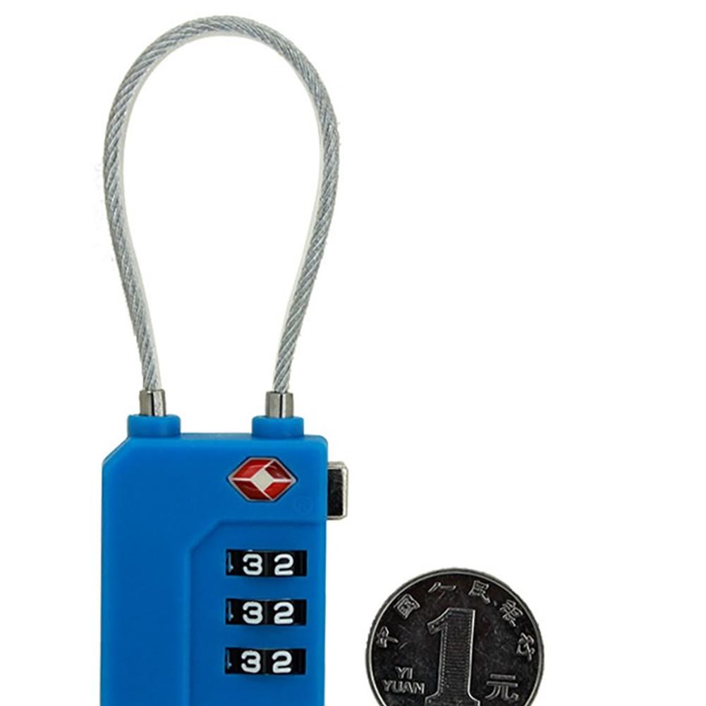 Customs Lock Plastic Password Lock Travel Lock Bag Mini Wire Rope Password Lock blue