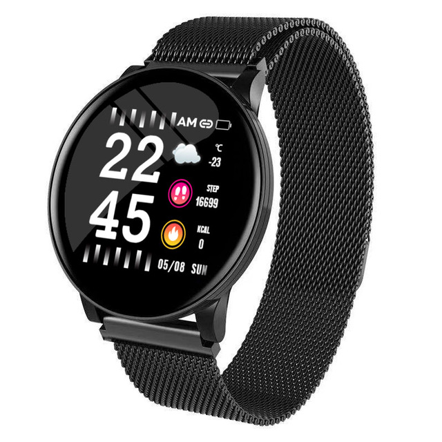 W8 Smart Watch Ladies Weather Forecast Fitness Sports Tracker Heart Rate Monitor Smartwatch Android Women Men's Watches Smart Bracelet Black steel