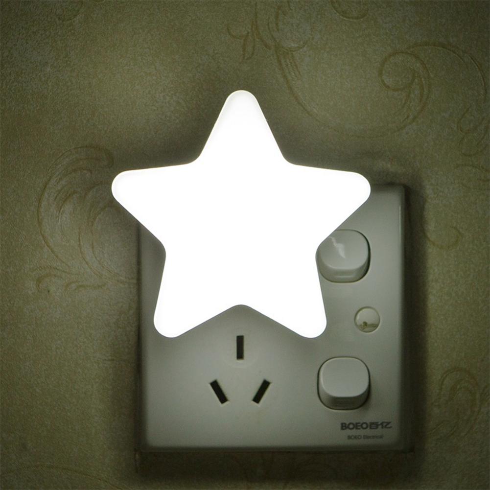 Smart Light Sensor Star-shape LED Bed Light Night Lamp Home Office Decoration Gift white_U.S. regulations