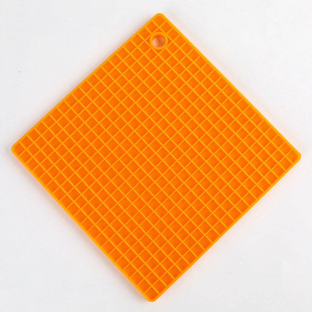 Silicone Pot Holders (Set of 1), Silicone Multi-Purpose Hot Pads Heat Resistant to446 °F, Non-slip, Insulation, Durable, Flexible Trivet for Table Kitchen  Orange