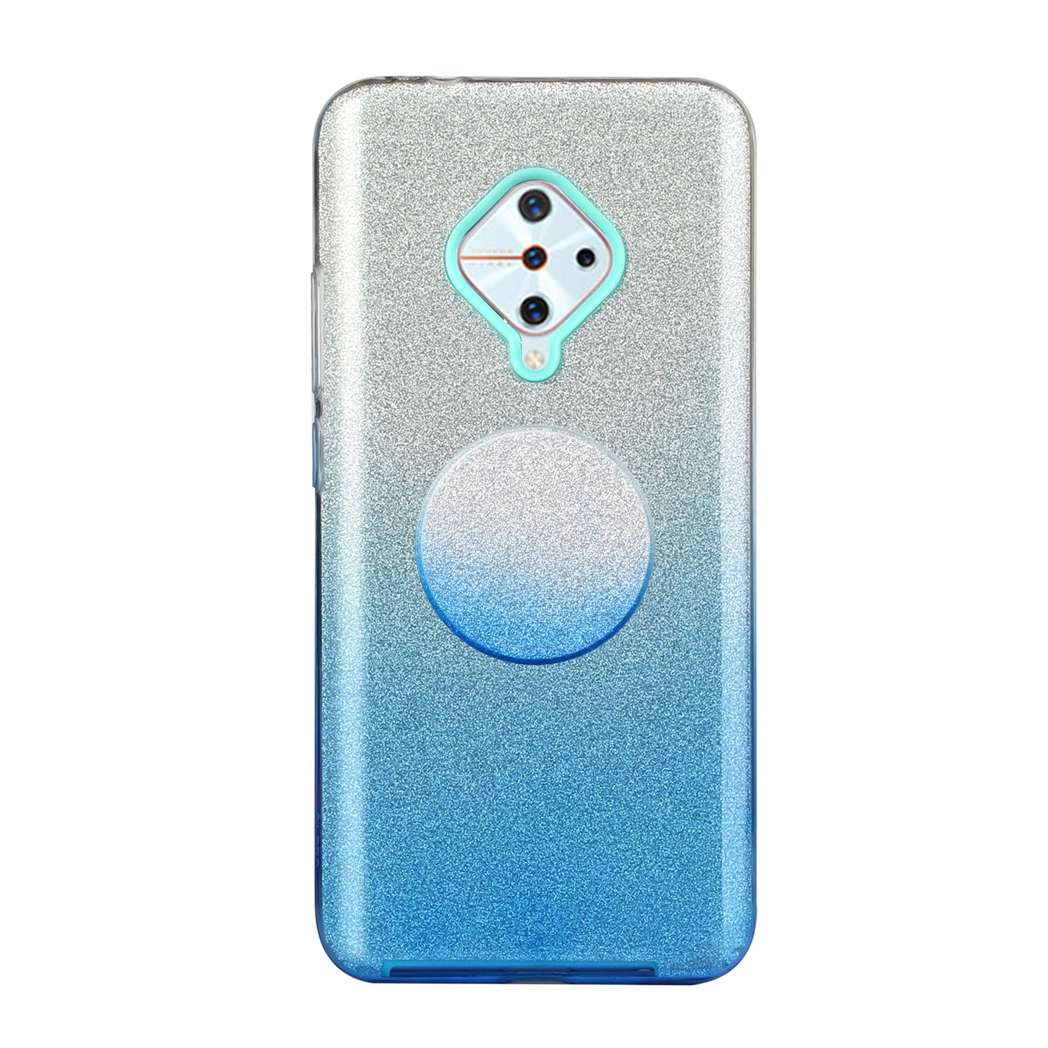 For VIVO Y91/Y93/Y95 with hole/V17/S1 Pro/Y95 Phone Case Gradient Color Glitter Powder Phone Cover with Airbag Bracket blue