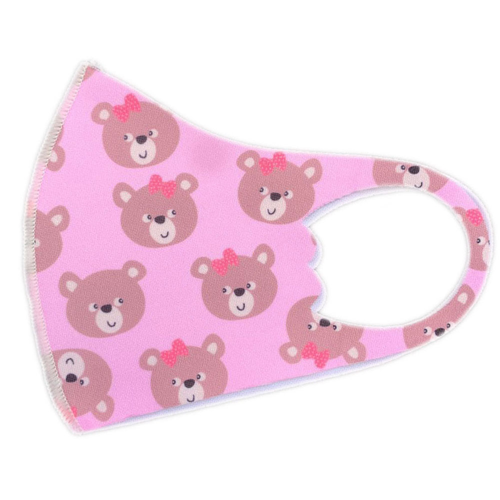 Children's Mask Dust Proof Breathable Washable Cartoon Print Hanging Ear Type Mask Pink bear_Packaging-already replaced