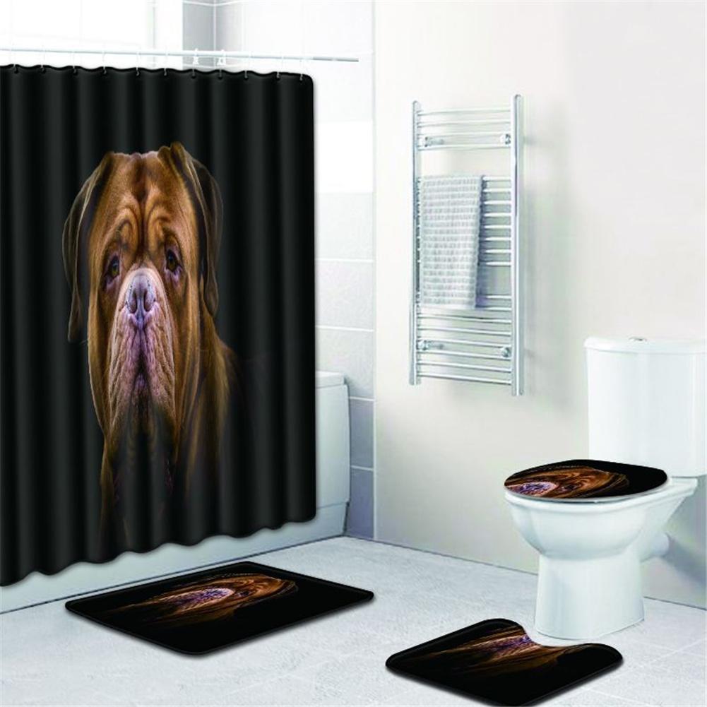 4  Pcs Non-slip Rug Toilet  Lid  Cover Bath  Mat Waterproof Bath  Curtain w180623-d033_50*80cm