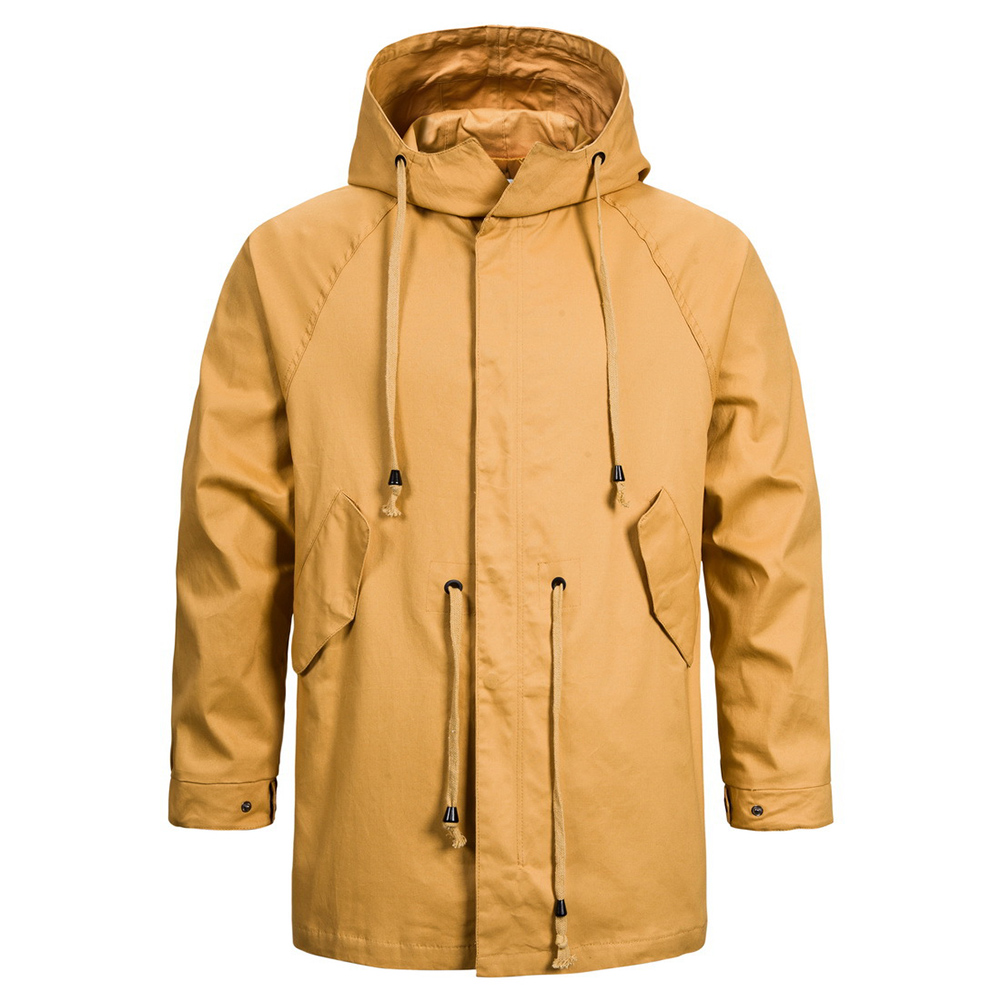 Men's jacket Long-sleeve solid color outdoor  FitType hooded jacket  Khaki _XL