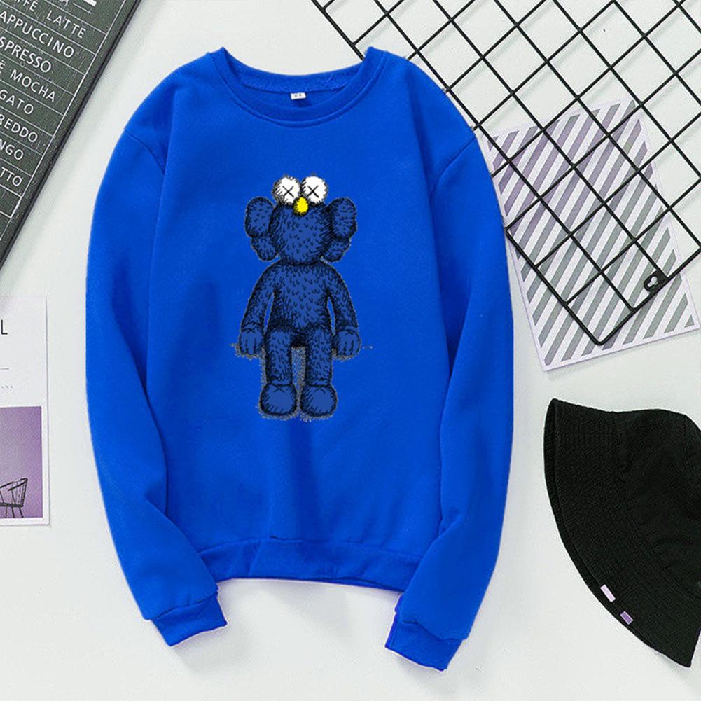 Men Women Fashion Cartoon Long Sleeve Fleece Round Collar Sweatshirts blue_XL