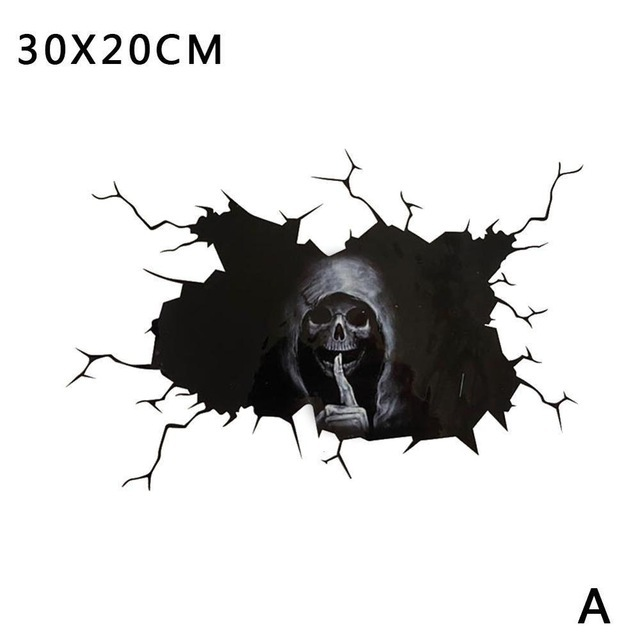 Happy Halloween Wall Floor Decal Horror Silence Wall Stickers Skull Sticker Car Window Home Decor Decal Party Decoration 30*20cm