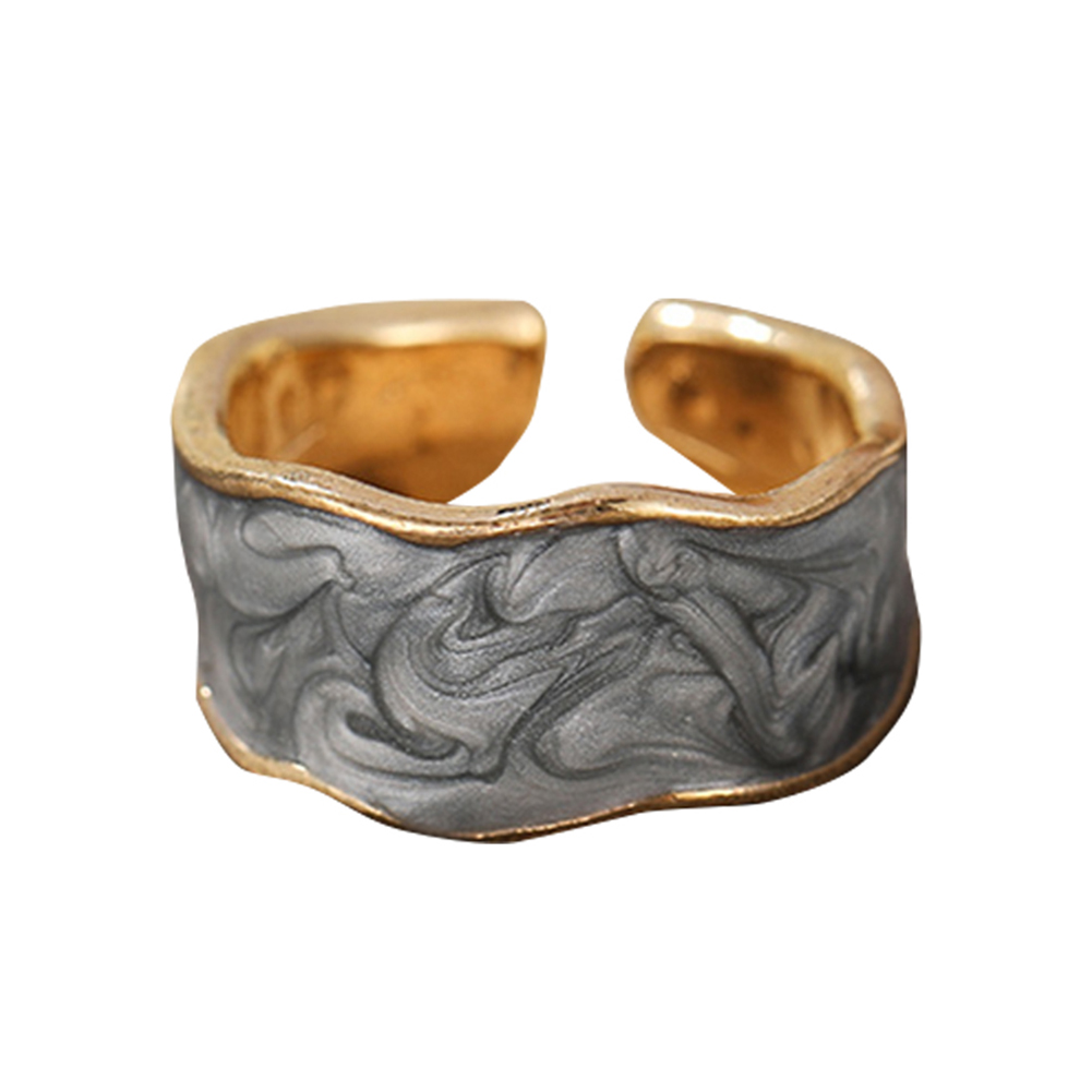 Joint  Ring Alloy+acrylic Enamel Drip Glaze Simple Cool Style Open Ring Ring Gray