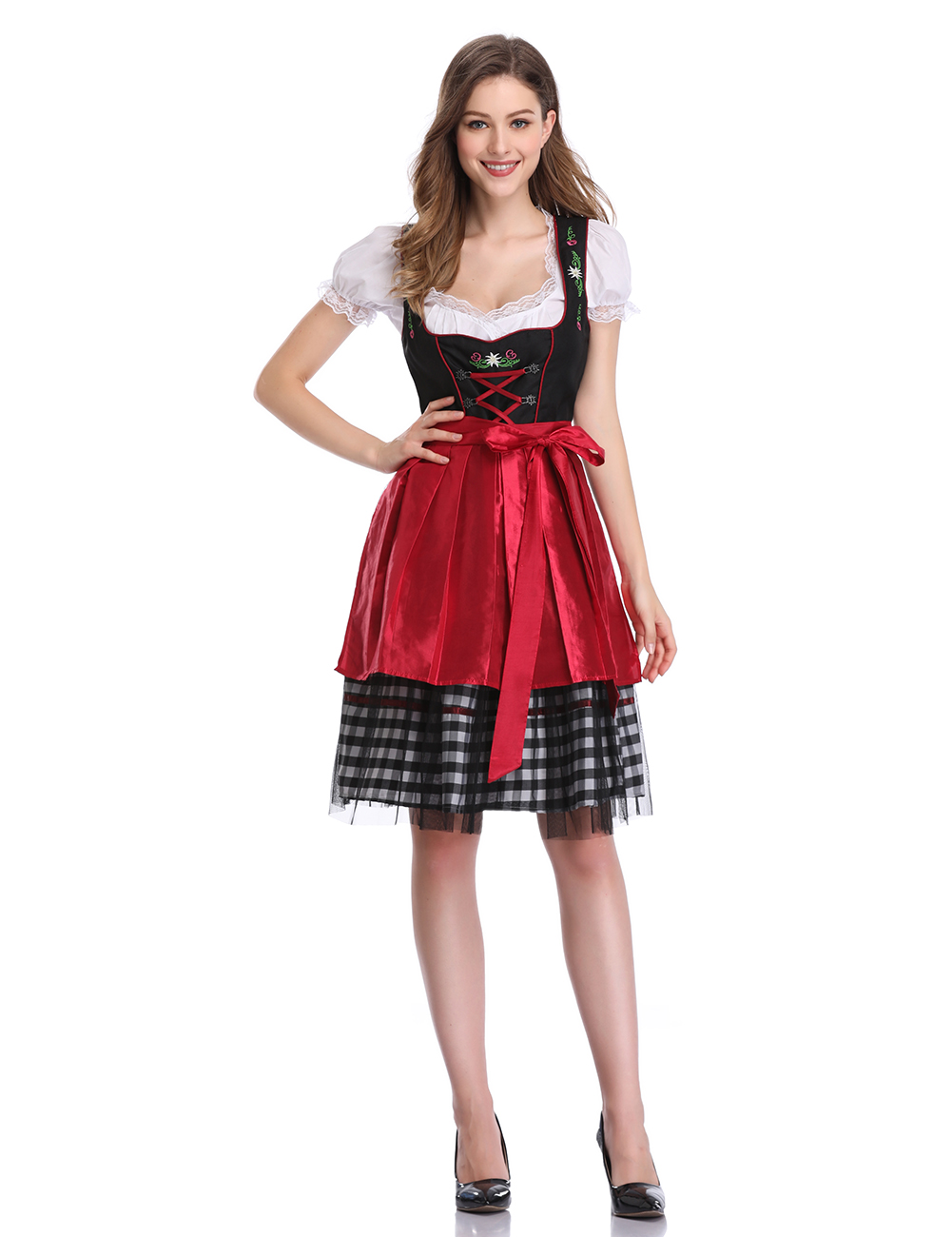 [EU Direct] Women's Oktoberfest Plaid Mesh Stitching Embroidery A Line Formal Dresses Suit