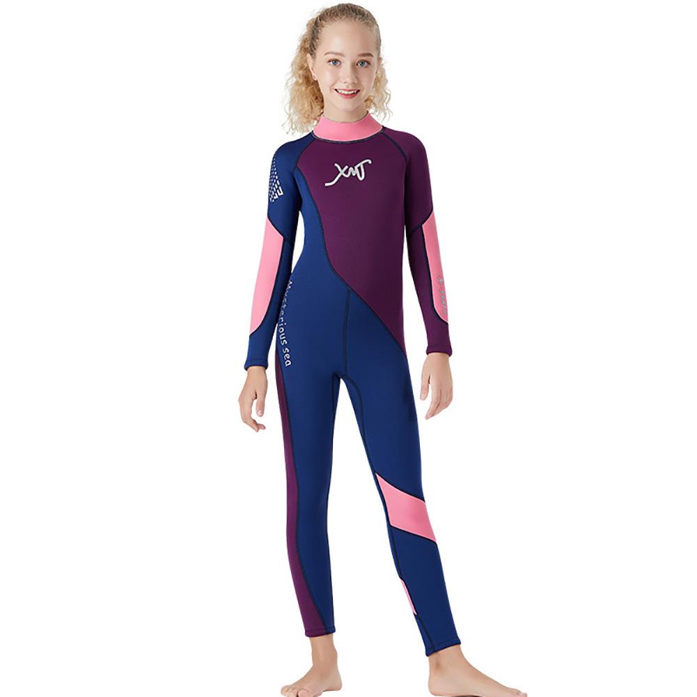 2.5MM Children Diving Suit Junior Swimwear Siamese Thicken Diving Surfing Winter Jellyfish Suit Navy_XL