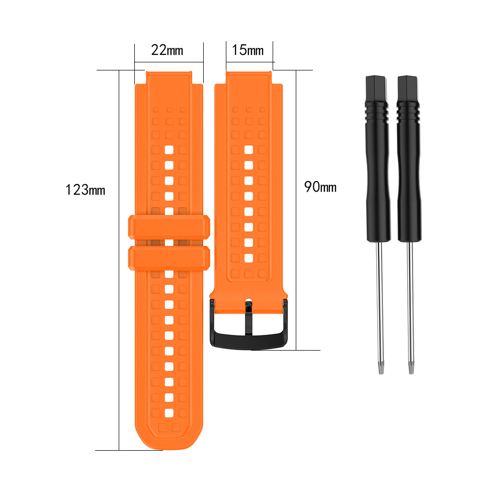 Men's Silicone Wristband Large Size Replacement Wristband for Garmin Forerunner 25 Orange