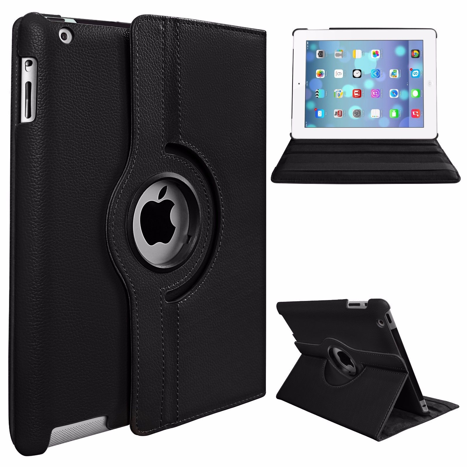 Protective Cover 360-degree Rotating Leather Case for Apple ipad  Air/ipad5 black