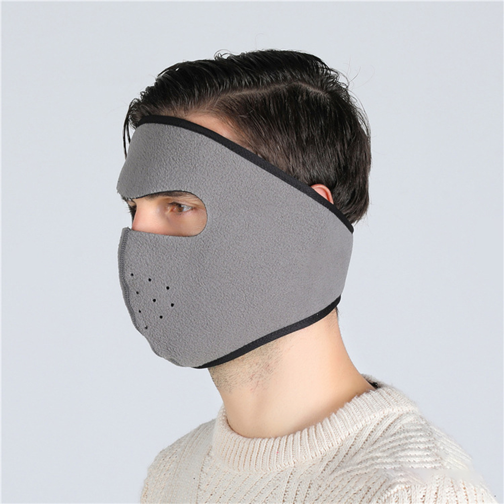 Motorcycle Cycling Ski Cold Winter Cold-proof Ear Warmer Sports Half Face Mask Light gray_free size
