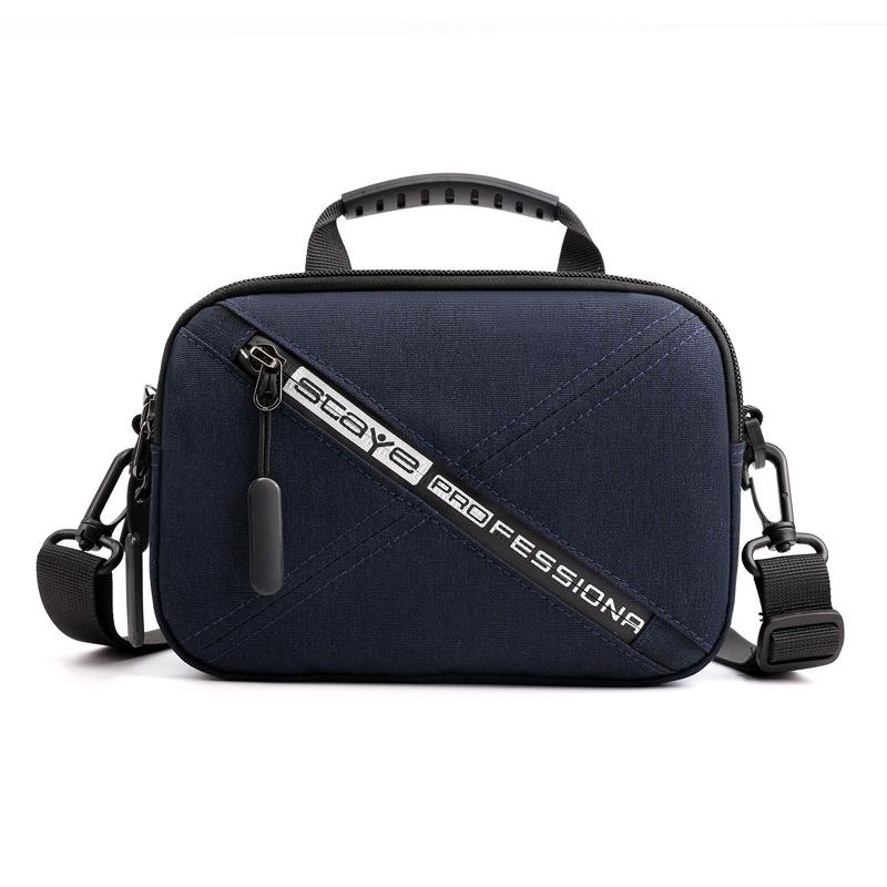 Men Waist Bag Handbag Satchel Double Layer Waterproof Removable Single Shoulder Strap Navy blue