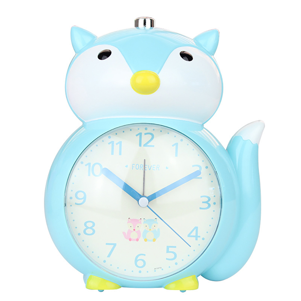 Cartoon Animal Shape Alarm Clock Kids Snooze Function Silent Battery Operated Clock for Bedroom Bedside blue