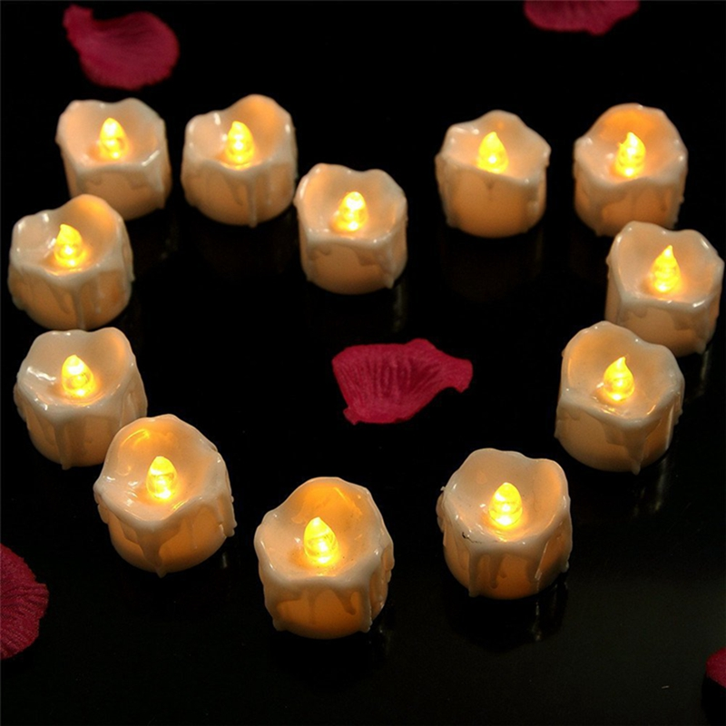 Battery Operated Candles ,Flameless ,Flickering Amber Yellow Flame(12PCS)