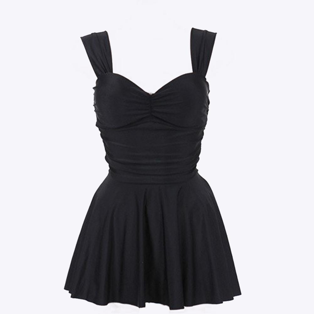 2 Pcs/set Women Swimsuit Nylon Sexy Solid Color Split Dress+ Boxer Black (boxer shorts)_l