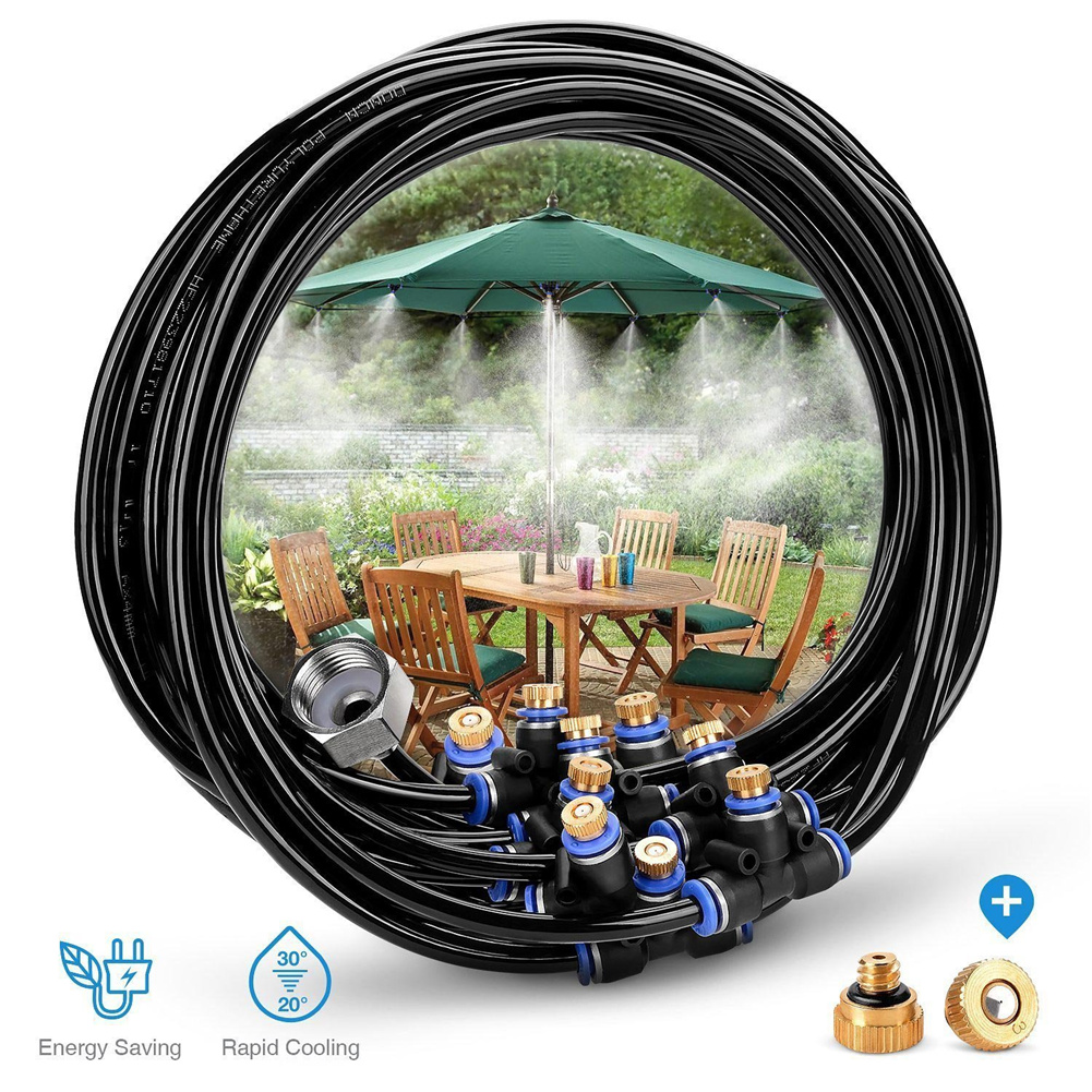 8m Outdoor Misting  Cooling  System Set With 9 Brass Nozzles 3/4 Adapter For Court Yard 8m Set