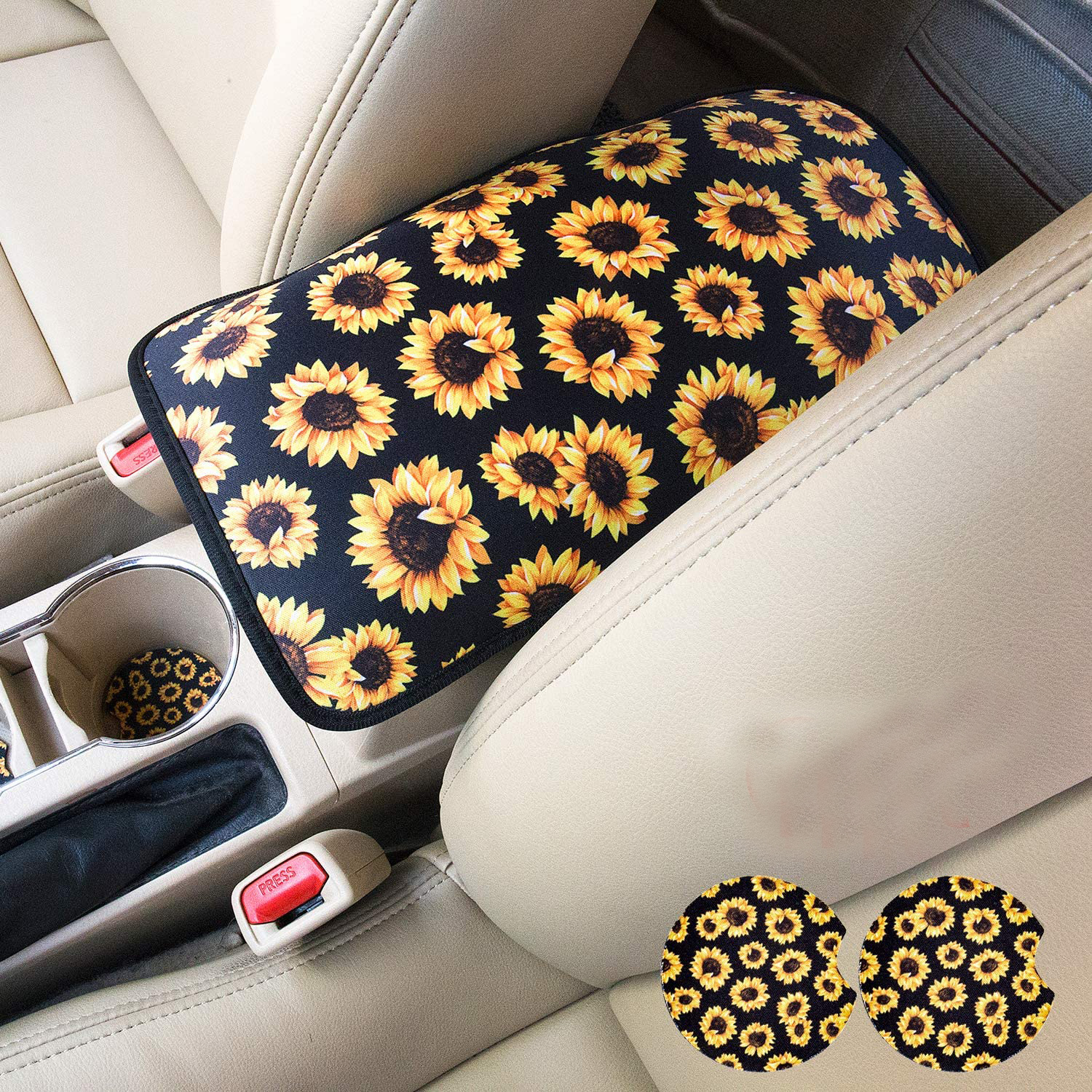 Vehicle Center Console Armrest Cover Pad Universal Fit Soft Stylish Sunflowers Pattern Comfort Center Console Armrest Cushion Armrest + 2 coasters